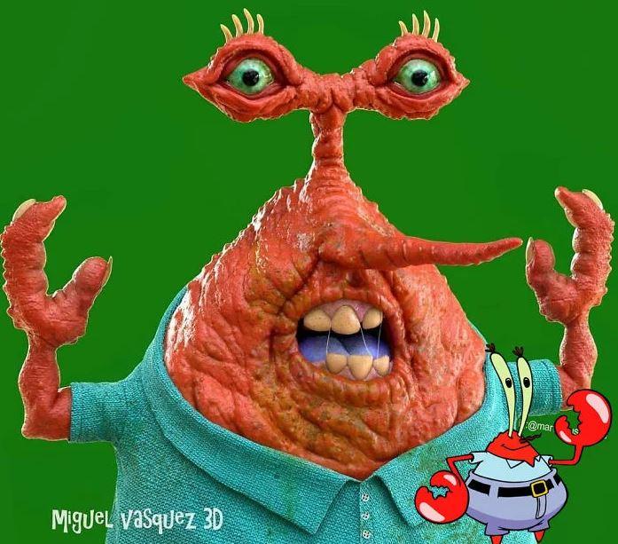 藝術家把知名卡通人物「3D擬真化」 「派大星」可怕到想洗眼睛