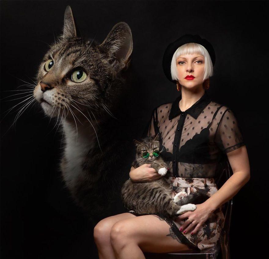 她痛失愛貓後拍「把毛孩變月亮」復古搞笑照 現在接單到手軟!
