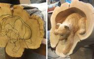 神手藝術大師從原木變出生命 用「電鋸」細磨出森林家族