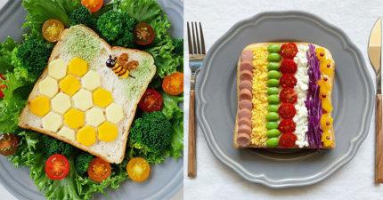 藝術家型廚娘「用吐司作畫」 整片麵包「寫滿心經」心誠才能吃!