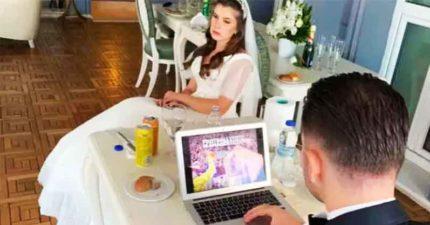 勇者新郎「婚禮上狂玩電腦」老婆臉僵還不收...根本生命鬥士