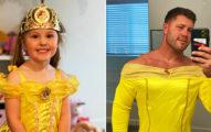 女兒傻瓜「陪穿公主父女裝」 胸肌炸裂秘密讓網友全嗨翻