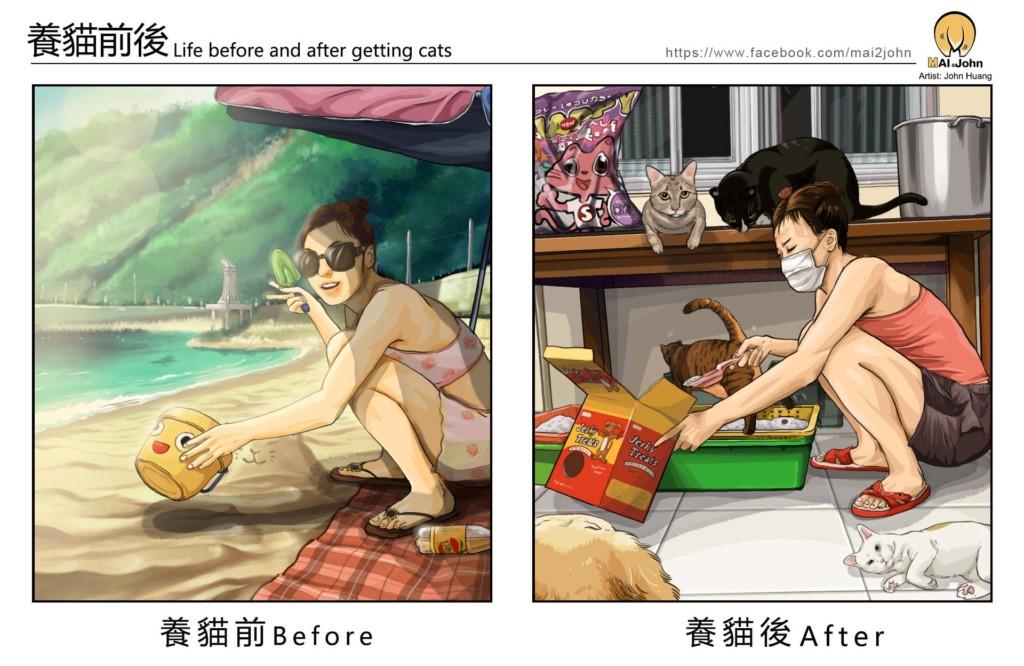 奴才必懂!台灣畫家分享「養寵物前後差異」 國外鄉民狂轉發:有夠中肯