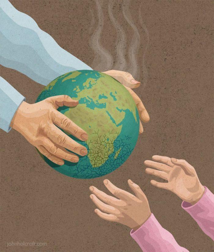 用「諷刺作品」點出社會真相 你留給孩子的是「熱騰騰的地球」!
