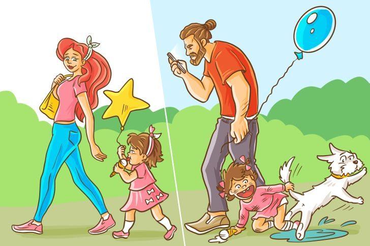 19張「爸媽帶小孩差很大」插畫 爸爸「哄女兒睡覺」結局超爆笑