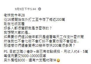 小資女28歲「存款200萬」!她揭一招儲蓄方法網推:收下我膝蓋