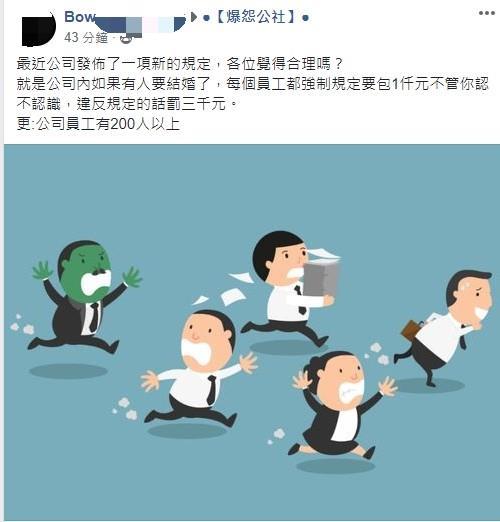 公司規定「同事結婚」一定要包紅包 沒到「要求金額」直接罰款!