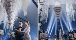 新婚夫妻訂製「水晶吊燈蛋糕」 從天而降秒變婚禮主角