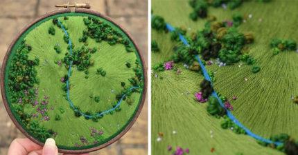 27幅「針下美麗景色」神手刺繡圖 「50小時」完成一幅超費工!