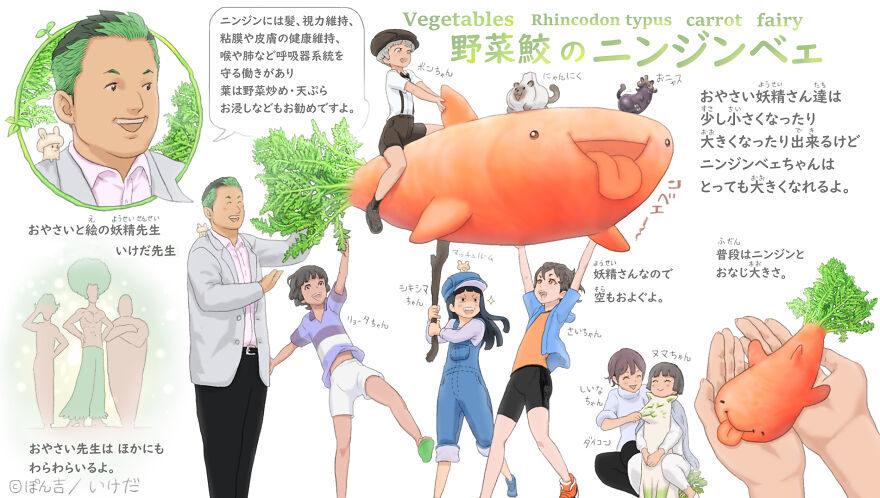 插畫家結合「動物X蔬菜」成新神奇寶貝 誰會討厭「香菜龍貓」?