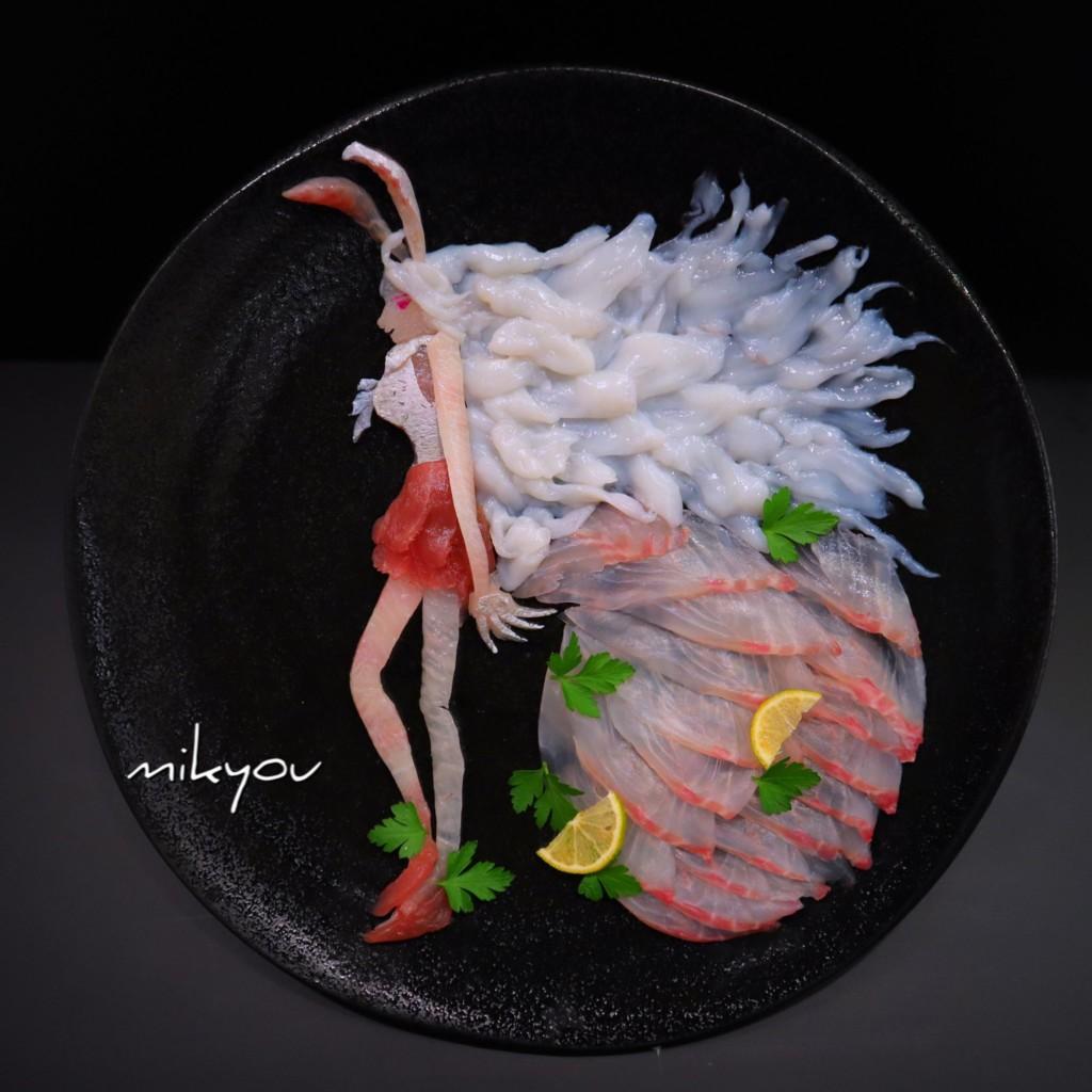 怎捨得吃!創意爸打造超猛「刺身藝術」 迪士尼公主美到不想吃了