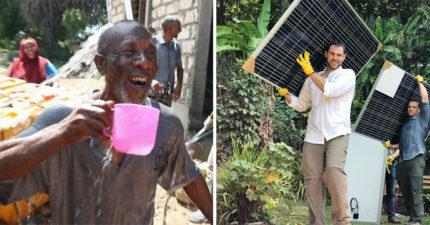肯亞首座「太陽能發電廠」完工!居民立馬「興奮狂喝」:終於有淨水了