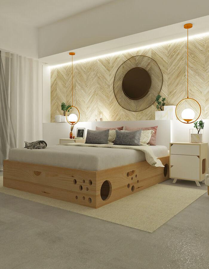貓皇和奴才的完美睡床!「內建迷宮」最適合焦慮貓咪