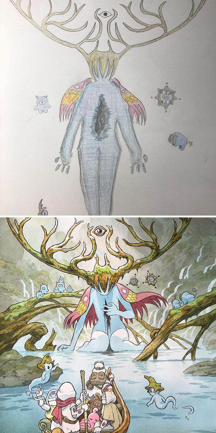 天才老爸二創「兒子亂畫塗鴉」 「大眼巨人」還以為是宮崎駿角色!