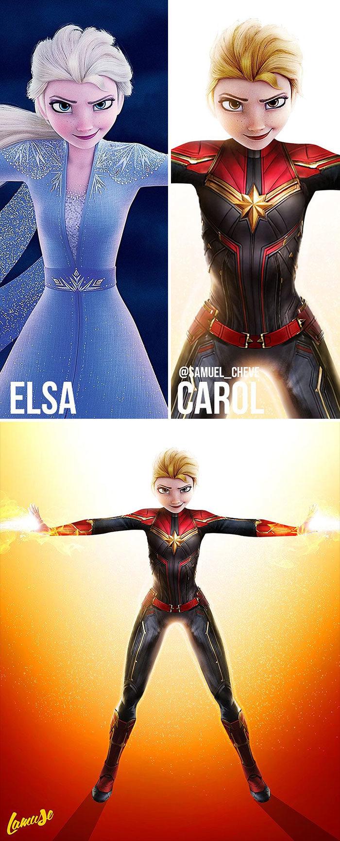 20張「迪士尼X漫威」帥氣插畫 艾莎「合體緋紅女巫」可以直接開拍了!