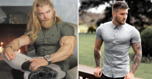 專請「爆肌男模」代言 巨巨穿「長袖襯衫」整件快爆開!網:是在賣扣子?