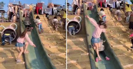 國小屁孩插隊溜滑梯...直撞重壓3歲童!媽媽「無所謂」走人