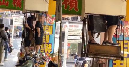 2女搭神奇電梯「消失騎樓」 北市建管處一看開罰6萬