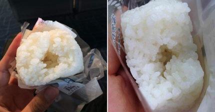 超商飯糰包空氣?他買鹽味飯糰 一咬開見「莫名空洞」