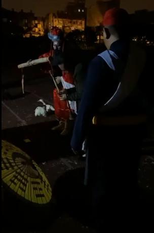 新竹校園「送肉粽」完整畫面曝!「白色米人」躺操場跑道...鍾馗送煞