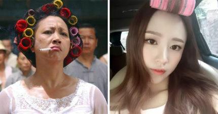 年輕妹子穿漂亮卻「頭頂髮捲」上街 網大酸:沒那個顏值扛