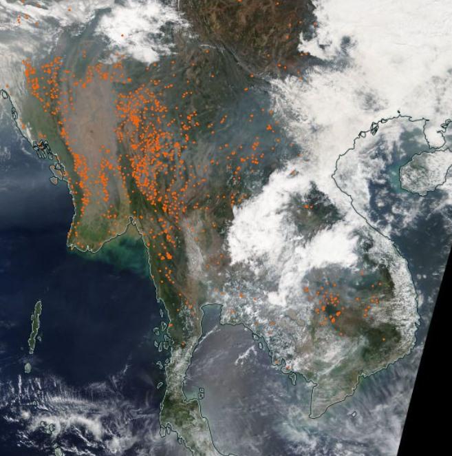 中南半島「火點」遍佈密度超高 網友驚:台灣剉咧等