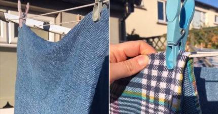 大部份人「曬衣夾」都夾錯了?正確使用才不會「衣服有皺褶」