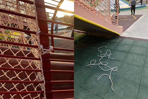 苗栗女童溜滑梯「被勒脖子」母嚇壞!細看驚見可怕「童軍繩陷阱」