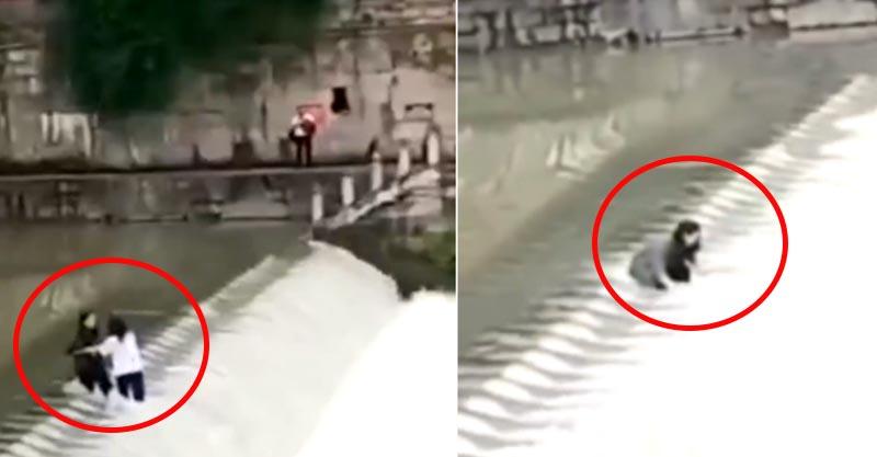2女學生站水壩中間「拍網美照」 激流一來沖走了