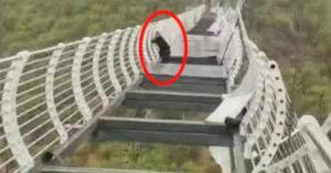 中國「玻璃棧道」被強風吹破!遊客260公尺高「腳底一空」
