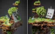 打造迷你版「天空之城」 近看內部超精緻「阿伯逛花園」就像真人一樣!
