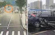 影 / 巨大打樁機倒塌「壓爛轎車奪命」 民眾嚇壞:像設計好的