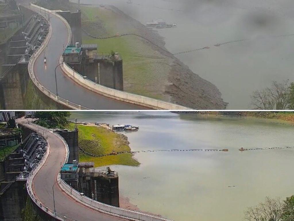 石門水庫「水位狂飆22公尺」 網看驚人對照圖興奮:快淹沒草皮!
